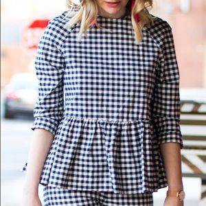 Victoria Beckham for Target | Gingham Peplum Top